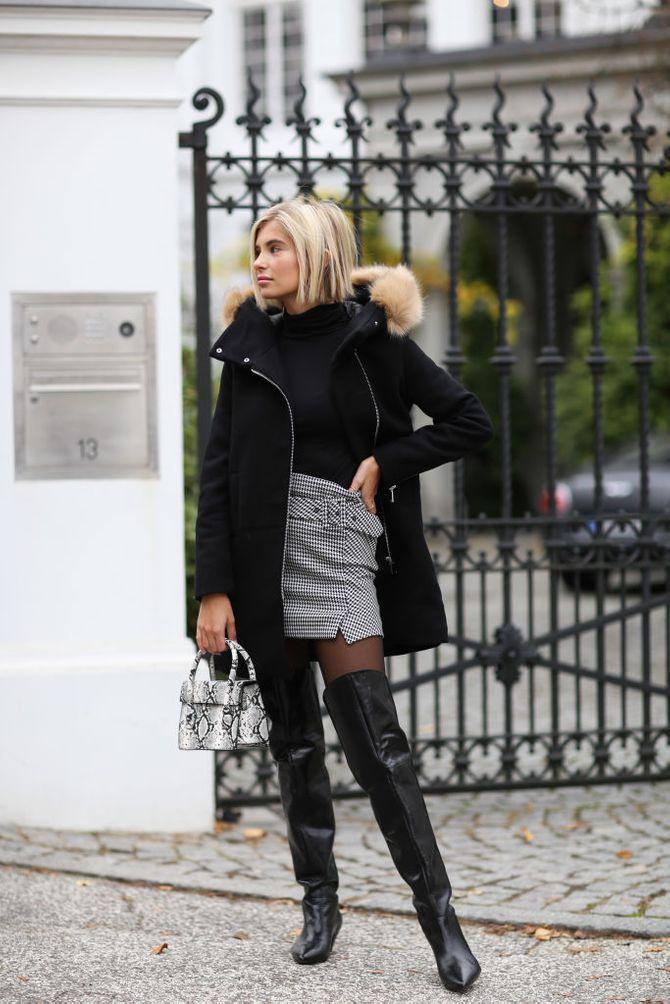 Elegantes Winter-Outfit mit Rolli, Rock und Overknees