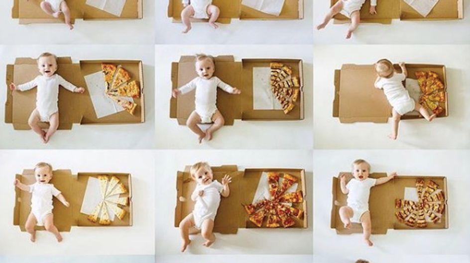"""Cette maman utilise des pizzas pour marquer les """"moiniversaires"""" de son bébé et c'est trop mignon"""