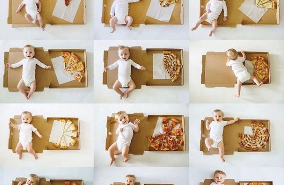 Cette maman utilise des pizzas pour marquer les moiniversaires de son bébé et c'est trop mignon