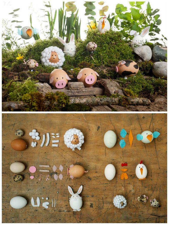 Oeufs de Pâques animaux de la ferme