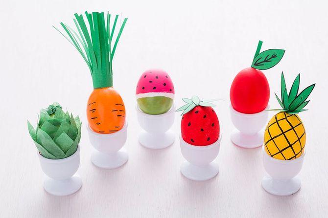 Oeufs de Pâques légumes et fruits