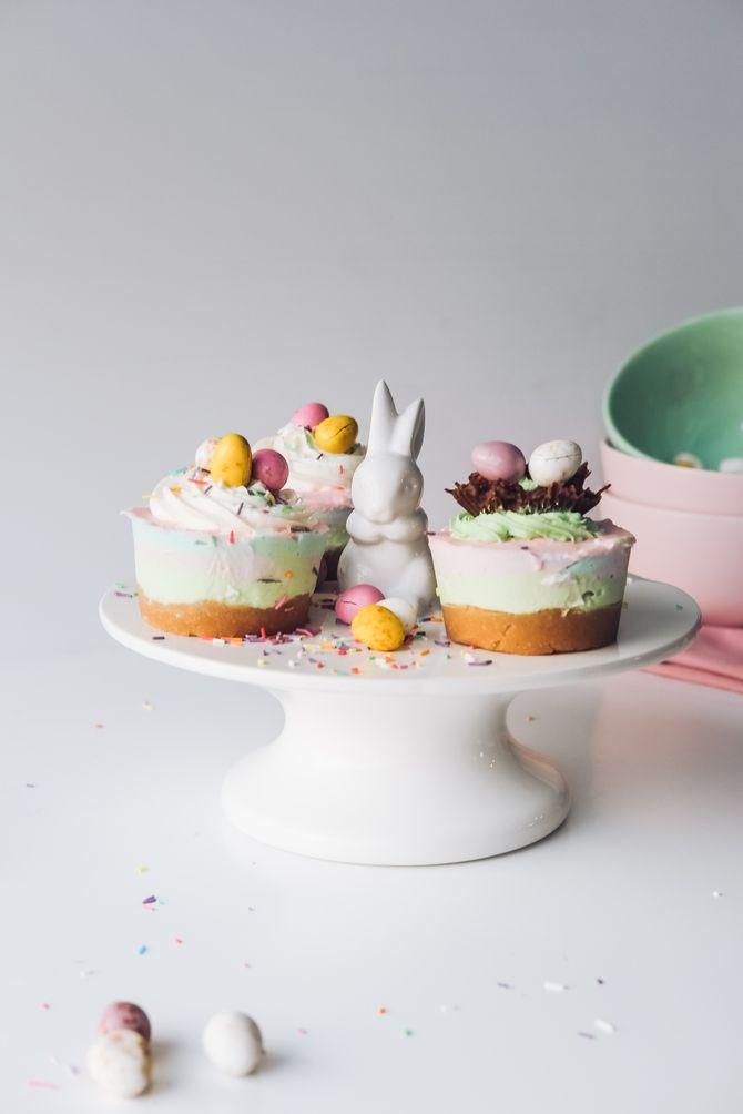 Mini cheesecakes façon nids de Pâques