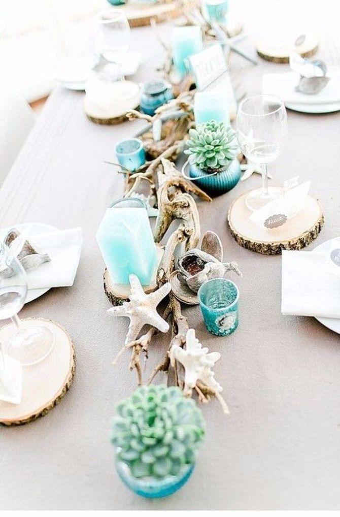 Centrotavola per matrimonio a tema mare azzurro