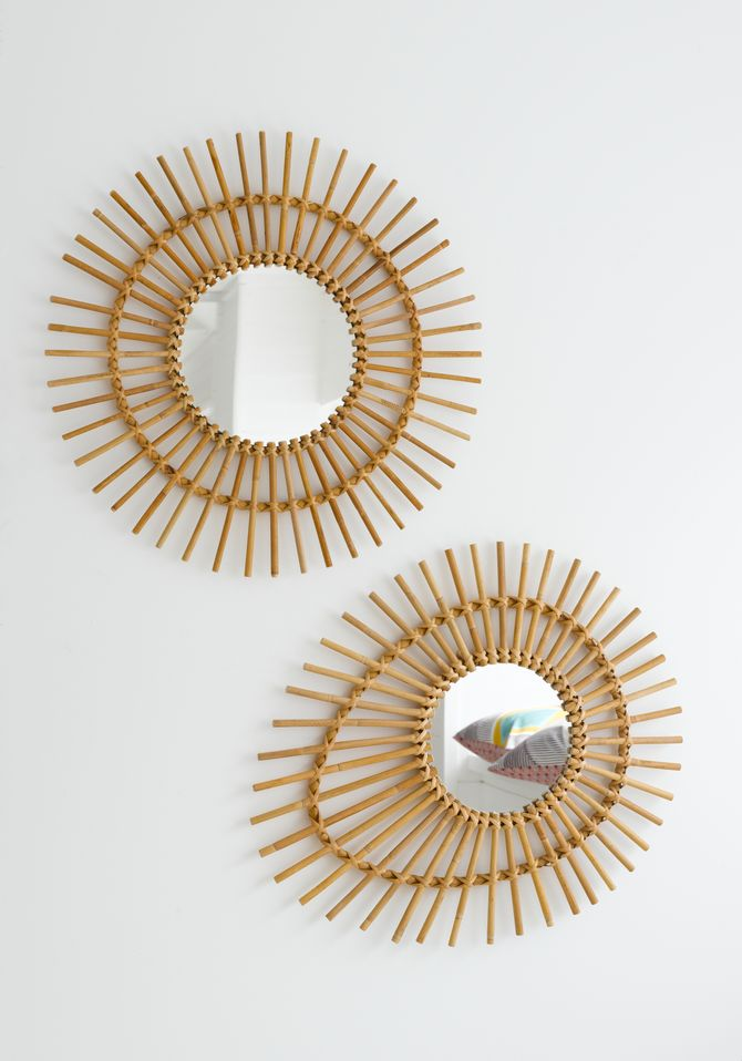 Miroirs en rotin