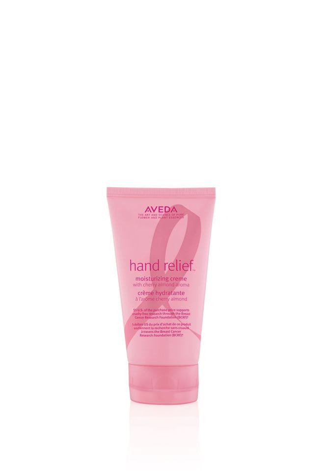 AVEDA Hand Relief Creme with Cherry Almond Aroma (30€). Donación: por cada producto vendido, Aveda donará 4,50€ a la investigación médica sobre el cáncer de mama.