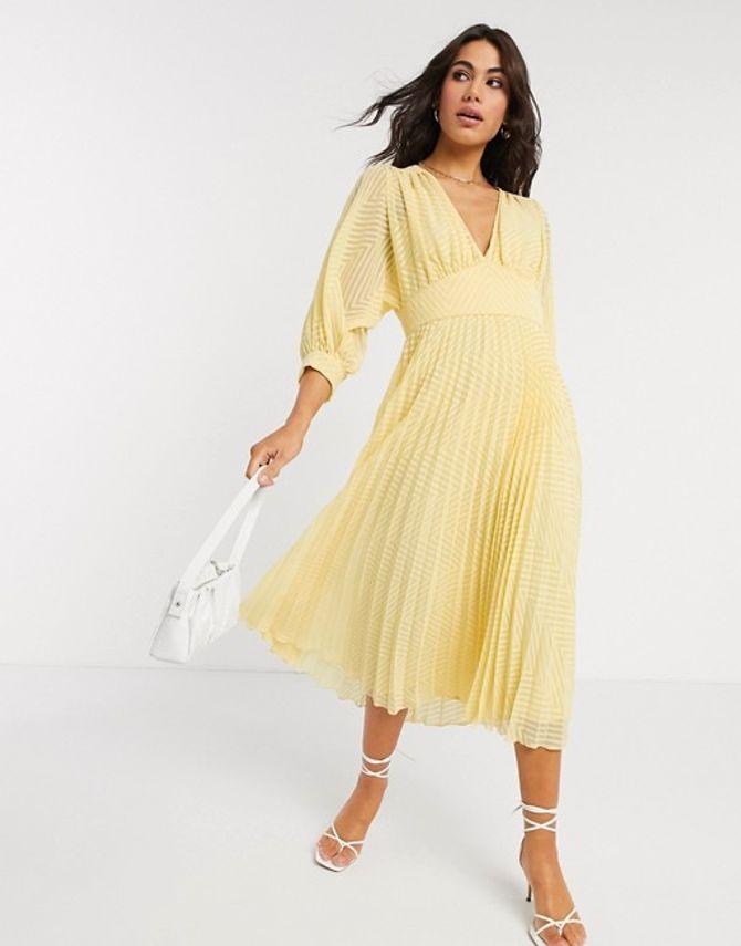 Asos Design - Vestido midi con diseño plisado