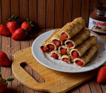 Nutella French Toast Rolls mit Erdbeeren: Sooo lecker!