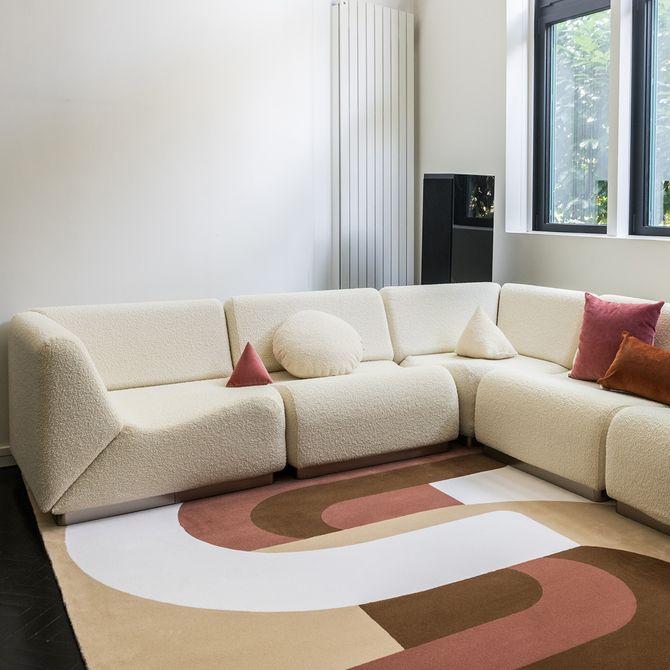 Canapé d'angle en laine bouclée