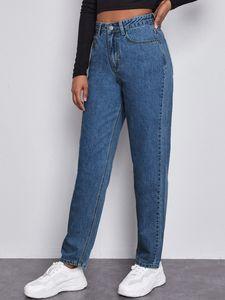 Jeans mom con tasca e vita alta