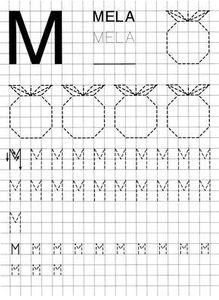 pregrafismo: scheda con lettere e forme