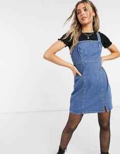 Hollister - Vestito svasato di jeans lavaggio blu medio