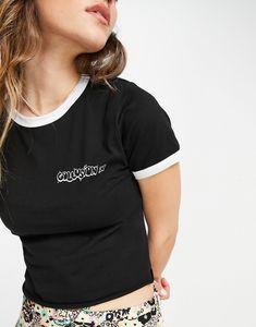 COLLUSION - T-shirt anni '90 aderente monocromatica con profili a contrasto