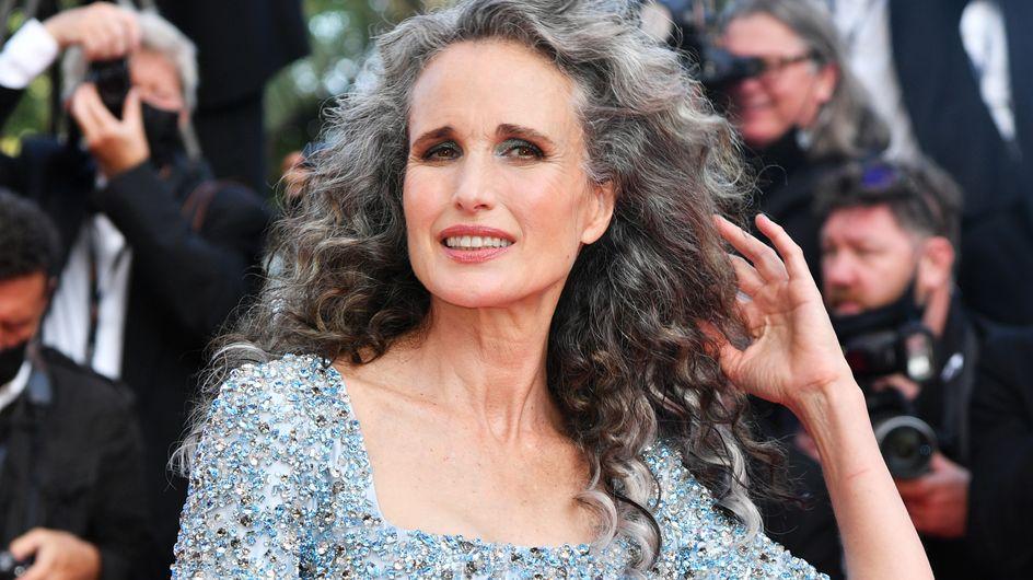 Andie MacDowell a fait sensation à Cannes avec ses beaux cheveux gris