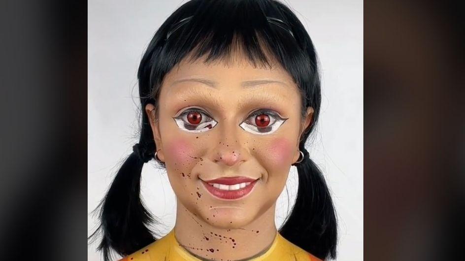 Squid Game : comment reproduire le maquillage de poupée de la série pour Halloween ?