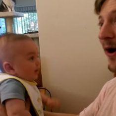 A seulement 3 mois, cet adorable bébé dit je t'aime à son papa