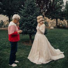 55 Jahre später trägt diese Braut das Hochzeitskleid ihrer Großmutter