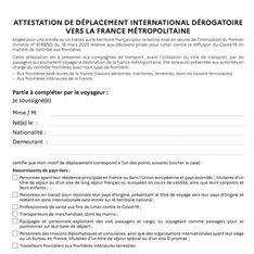 Pour entrer sur le territoire français, il faut désormais une attestation
